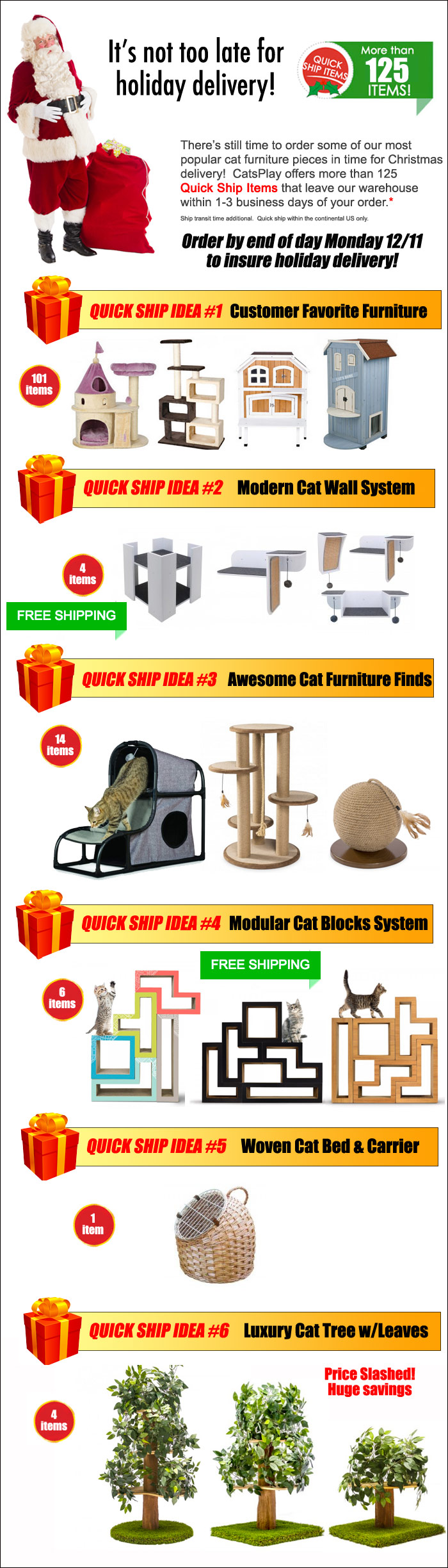 Quick Ship Cat Furniture items available for holiday delivery