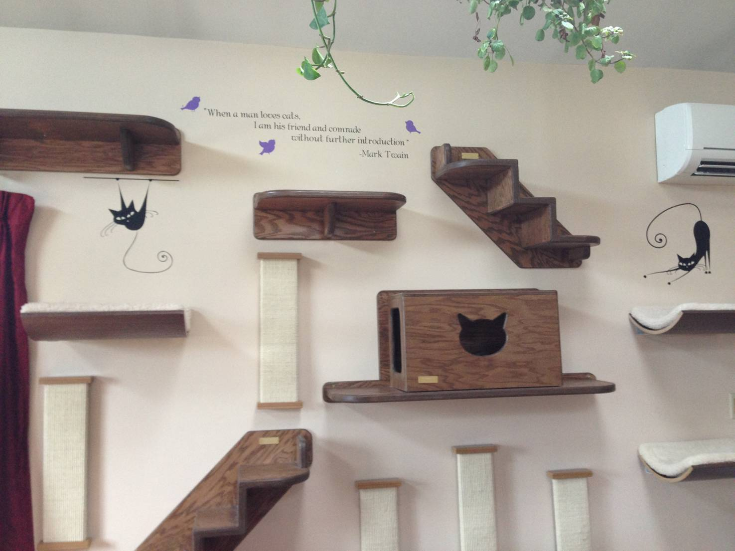 cat themed wall decals to accessorize cat furniture
