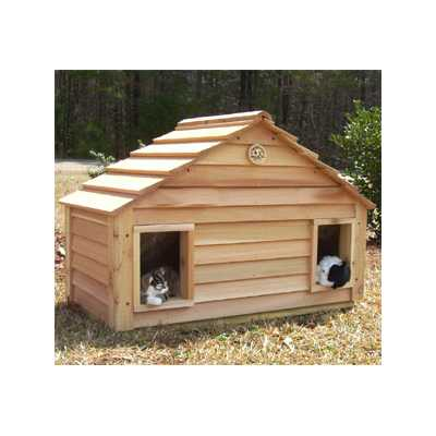 Cedar Duplex Cat House