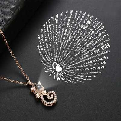 """Elegant Cat Necklace - Projects """"I Love You"""" in 100 Languages"""