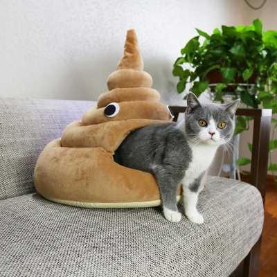 Funny Pile of Poo Emoji Cat Bed
