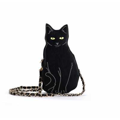 Black Cat Chain Shoulder Bag in PU Leather