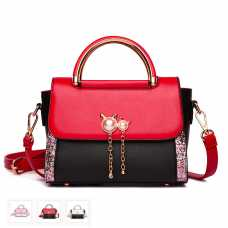 Crossbody Handbag with PU Leather Flap and Pearl Cat Head Accents