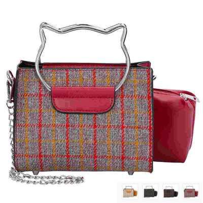 Designer Plaid Crossbody Handbag with Cat Head Handle & Matching Zip Bag
