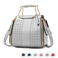 Basketweave PU Leather Ladies Shoulder or Crossbody Bag with Gold Cat Head Hardware