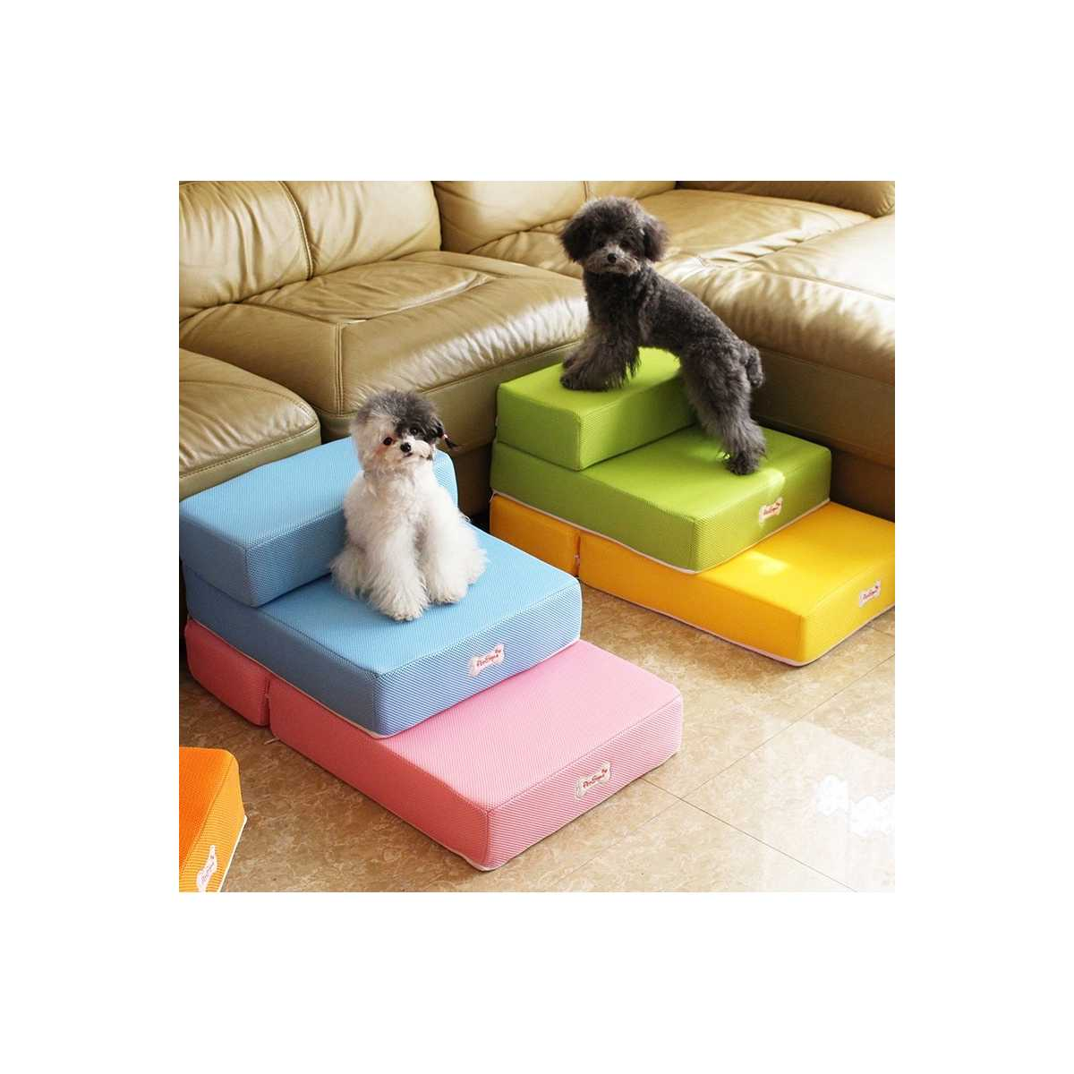 Breathable Mesh Foldable 2 Step Pet Stairs Catsplay