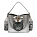 Metallic Embroidered Cat Face PU Pebble Texture Leather Shoulder Bag