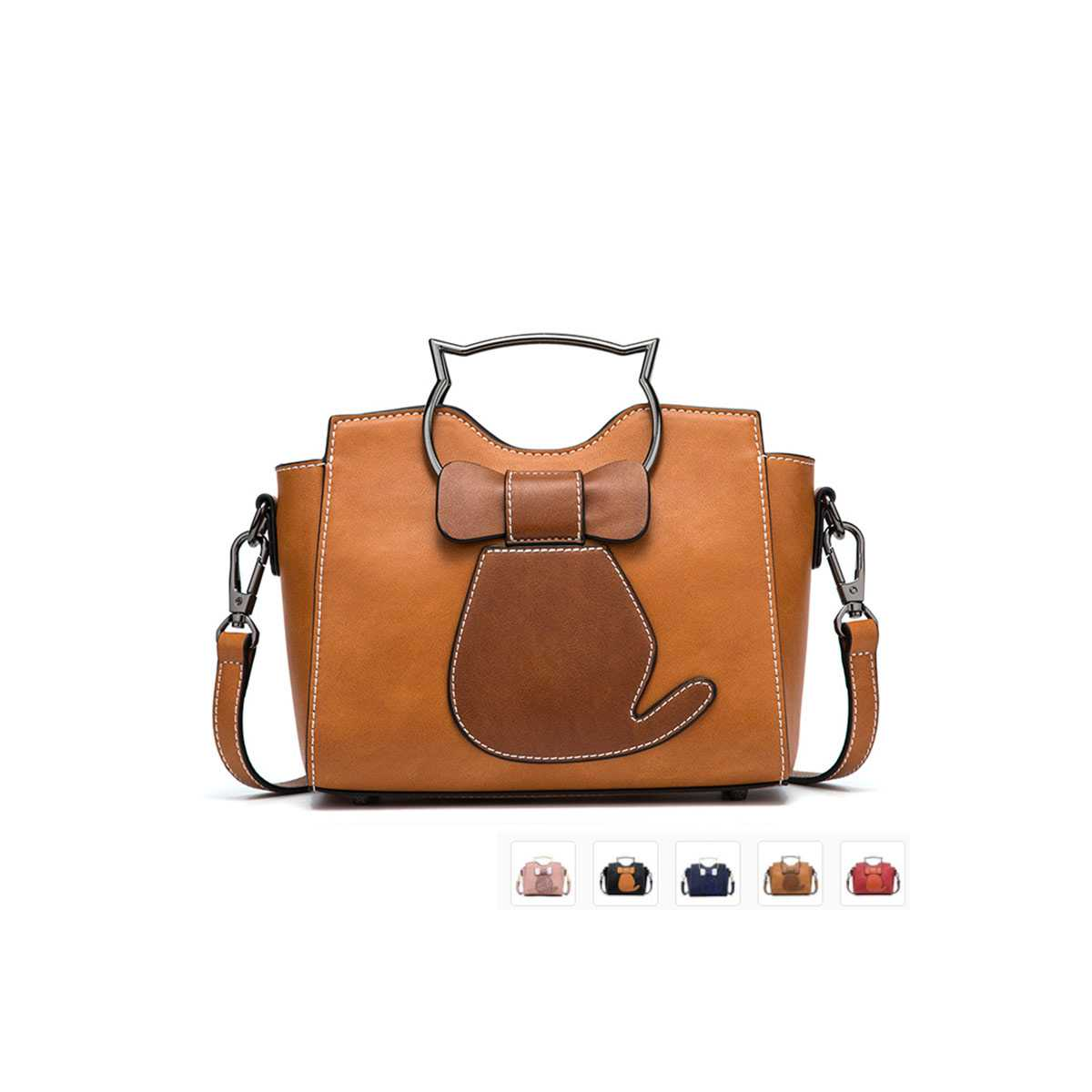 Bow Tie Cat PU Leather Ladies Handbag - CatsPlay Superstore 8c3f3bc296658