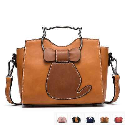 Bow Tie Cat PU Leather Ladies Handbag