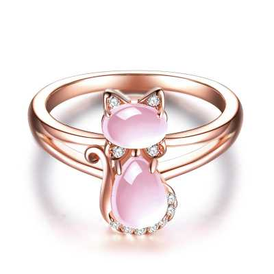 Rose Gold Color Cute Cat CZ Crystal Pink Opal Ring