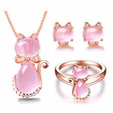 Rose Gold Color Cute Cat CZ Crystal Pink Opal Necklace, Ring and Earrings Set