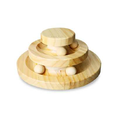 Wooden Cat Triple Play Discs with Balls Interactive Toy
