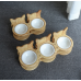 Solid Handcrafted Bamboo Wood Cat Feeder Stand with Bowls