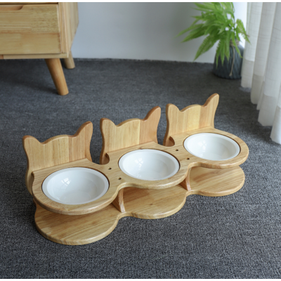 Solid Handcrafted Bamboo Wood Cat Feeder Stand with Bowls  Image