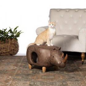 Elephant, Rhino, Dinousaur Ottomans that Double as Cat Condos!