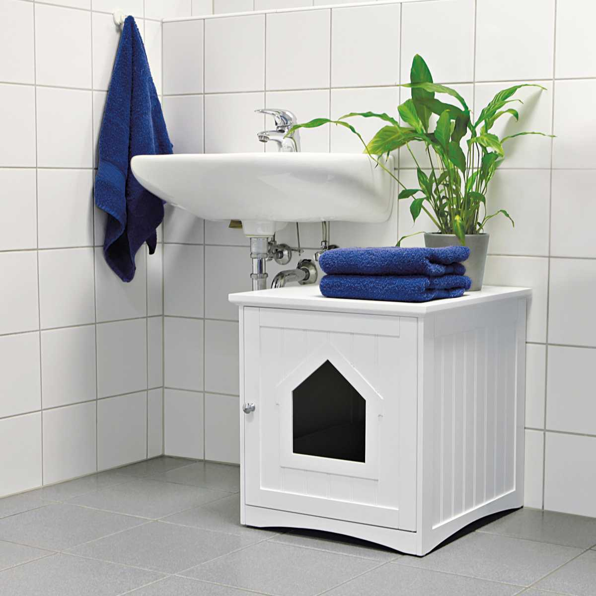 Wooden Cat Toilet Litterbox Cabinet White