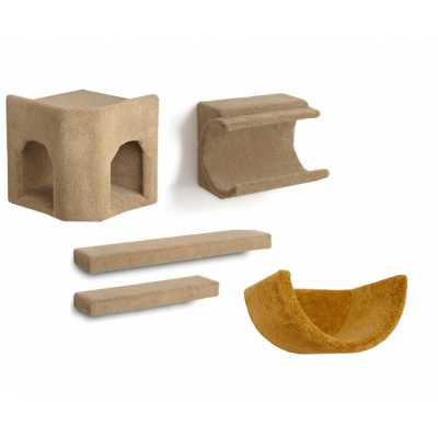 Kitty Corner Hideaway + Cradle + 2 Ramps + Wall Cup Cat Wall Climbing Package