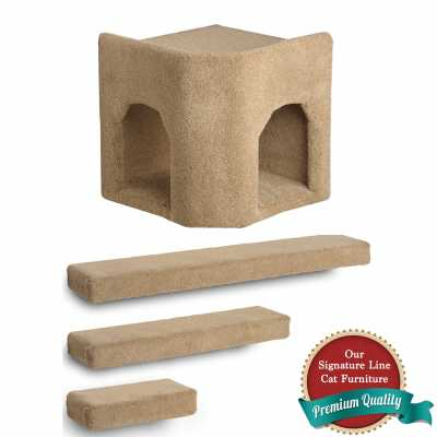 Kitty Corner Hideaway + 3 Ramps Cat Wall Climbing Package