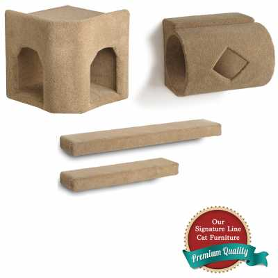 Kitty Corner Hideaway + Tube + 2 Ramps Cat Wall Climbing Package
