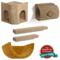 Kitty Corner Hideaway + Tube + 2 Ramps + Wall Cup Cat Wall Climbing Package