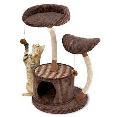 Two Level Lounge Cat Activity Center with Retreat Hide Away