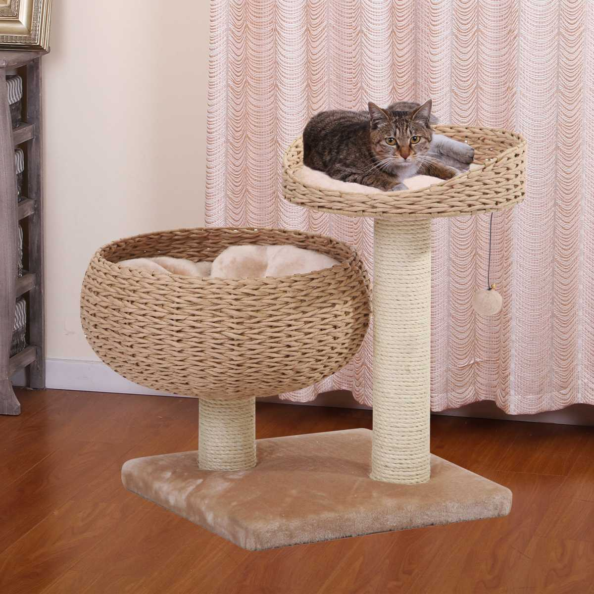 cozy cat tree with woven baskets