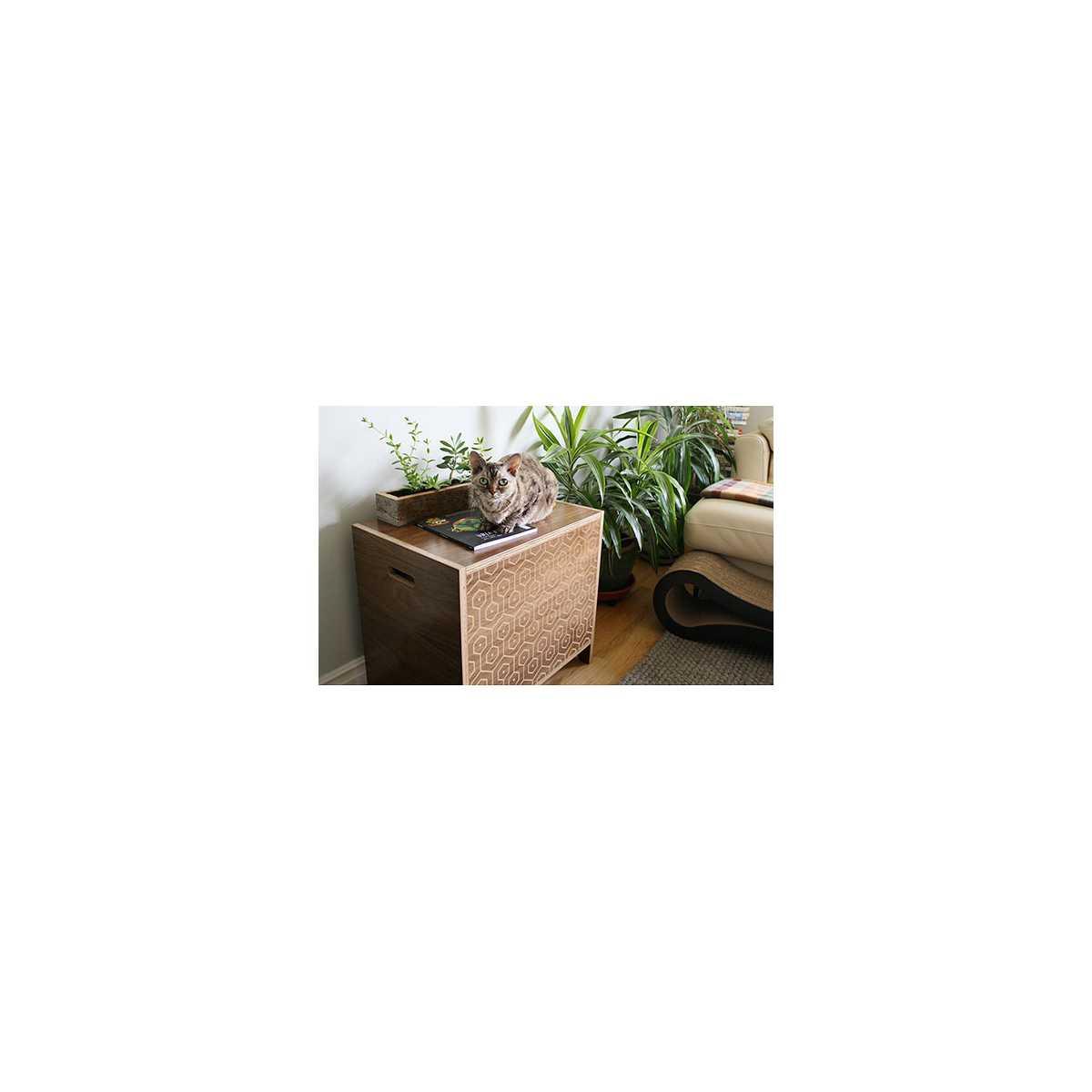 Curio Modern Cat Litter Box Or Pet House Walnut Pattern