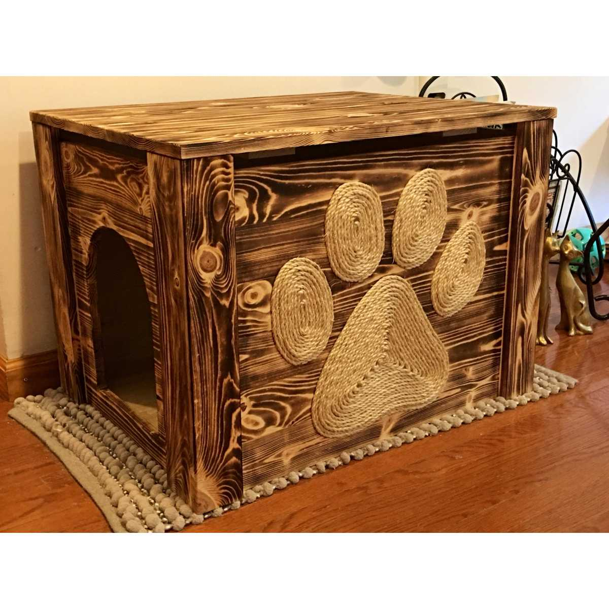 Rustic Artisan Made Cat Privacy Litter Box Hider