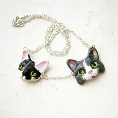 Custom Cat Portrait Necklace - More than One Cat