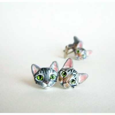 Custom Cat Portrait Men's Cufflinks Cuff Links