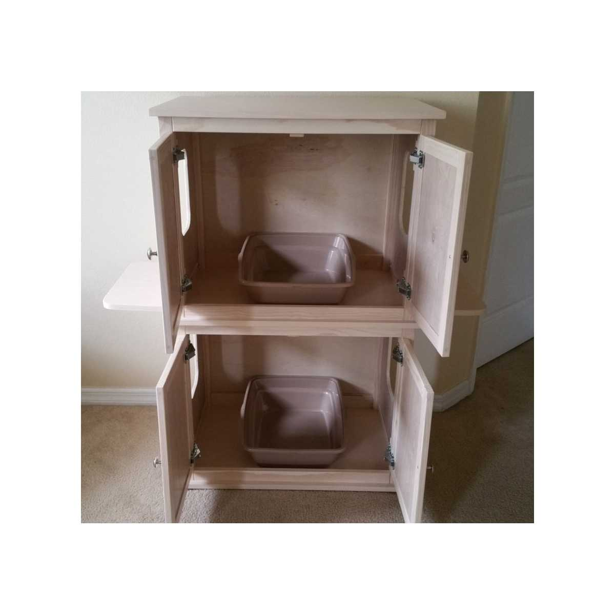... Stacked Double Cat Litter Box Cabinet With Odor Absorbing Light ...