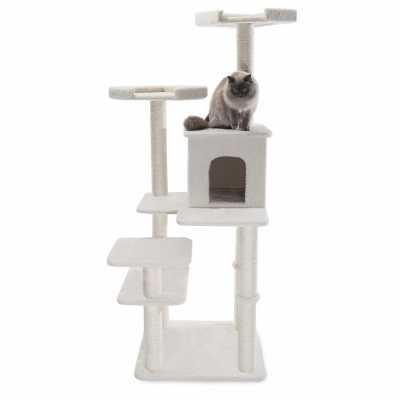 Bungalow 66 Inch Faux Sheepskin Cat Gym