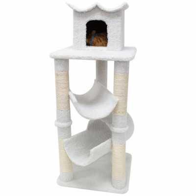 Bungalow 47 Inch Faux Sheepskin Cat Gym