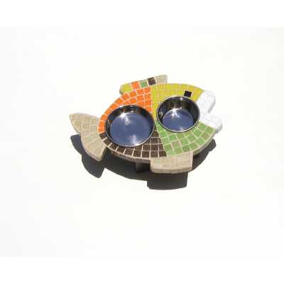 Two Bowl Fish-Shaped Mosaic Tile Cat Feeder