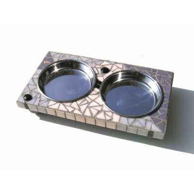 Elevated Mosaic Tile Cat Feeder