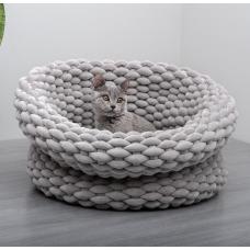 Aviva Velvety Cat Bed Basket - Single Weave