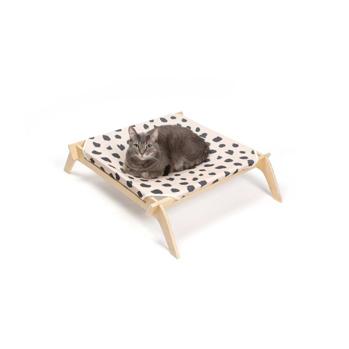 designer pet lounge with reversible fabric hammock   neutral with natural frame pet lounge with reversible fabric hammock   neutral with natural frame  rh   catsplay