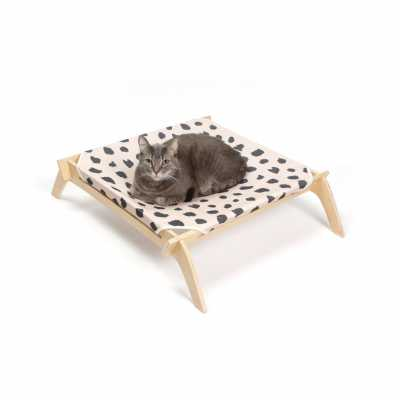 Designer Pet Lounge with Reversible Fabric Hammock - Neutral with Natural Frame