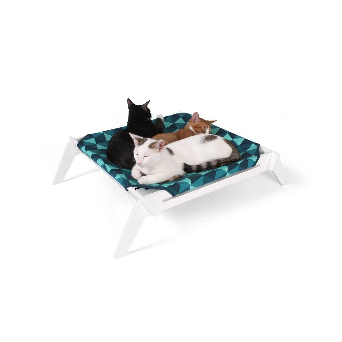 designer pet lounge with reversible fabric hammock   blue triangles pet lounge with reversible fabric hammock   blue triangles  rh   catsplay