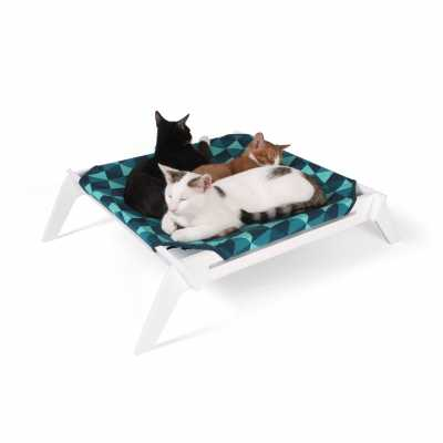 Designer Pet Lounge with Reversible Fabric Hammock - Blue Triangles