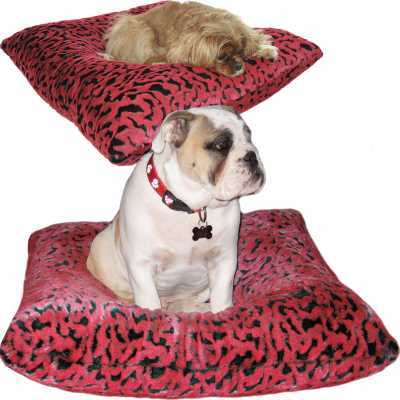 Hugger Square  - Red and Black Sculpted Faux Fur