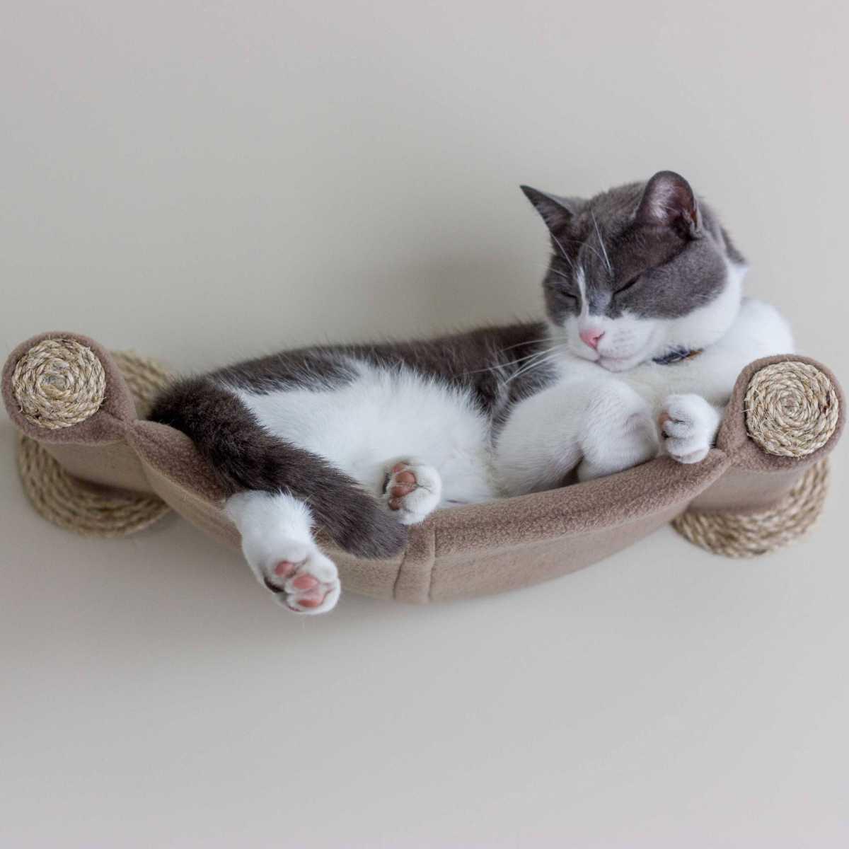 Cat Hammock Wall Mounted Cat Bed Beige