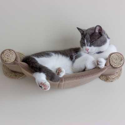 cat hammock wall mounted cat bed beige. Black Bedroom Furniture Sets. Home Design Ideas