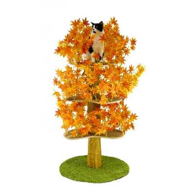 Luxury Cat Tree (Large) - Round Base w Fall - Orange Leaves - CT021