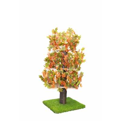 Luxury Cat Tree (Large) - Square Base w Summer - Orange and Green Leaves - CT012