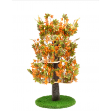 Luxury Cat Tree (Large) - Round Base Summer -  Orange & Green Leaves - CT011