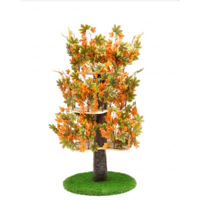 Luxury Cat Tree (Large) - Round Base Summer -  Orange & Green Leaves - CT011