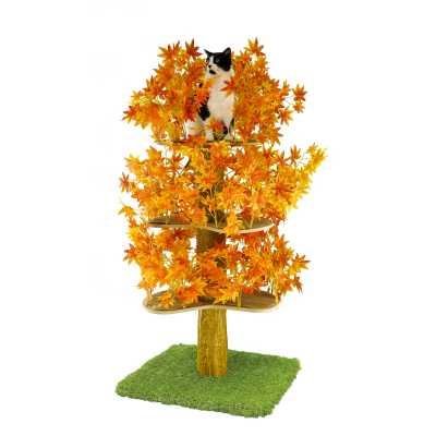 Luxury Cat Tree (Large) - Square Base w Fall - Orange Leaves - CT022