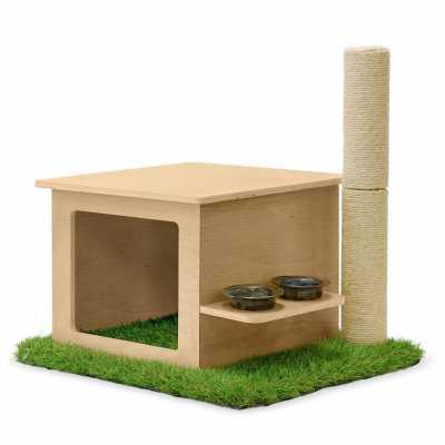 CatsPlay Indoor Cat Home w/Sisal Scratching Post