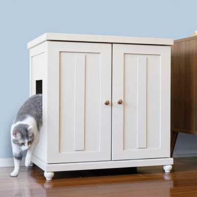 Deluxe Cat Litterbox Cabinet - Shaker Style